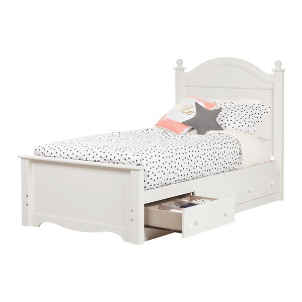 Lit avec 3 tiroirs Savannah, blanc pur, simple