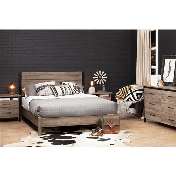 South Shore Furniture Weathered Oak and Matte Black 63.50-in x 82.80-in Munich Platform Bed on Legs