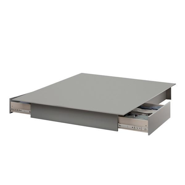 Lit plateforme Step One avec tiroirs, gris clair, grand lit