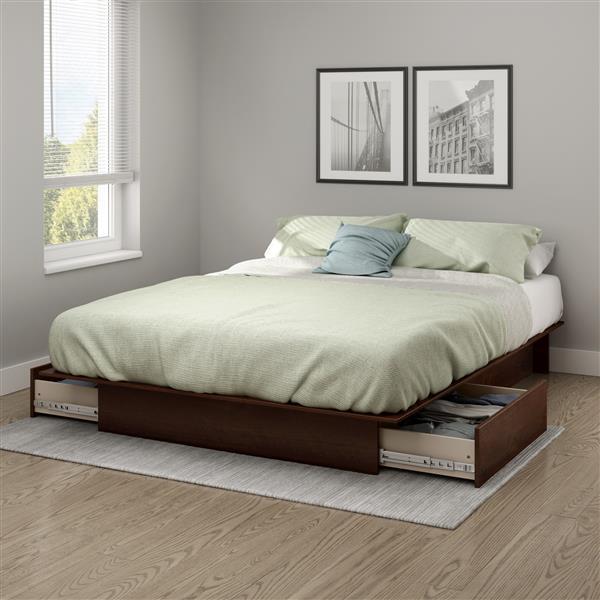 Lit plateforme Step One avec tiroirs, cerisier, grand lit