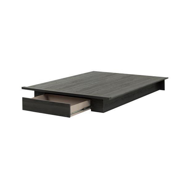 Lit plateforme avec tiroir Holland, chêne gris, grand lit