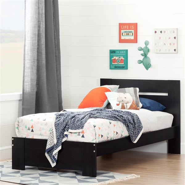 Base et tête de lit Reevo, noir onyx, simple