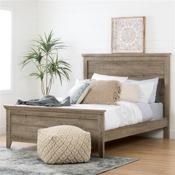 South Shore Furniture Weathered Oak 64.75-in x 81.25-in Lionel Panel Bed