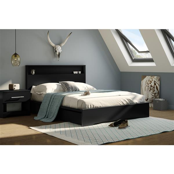 South Shore Furniture Black 63.63-in x 81.25-in 2 Drawers Platform Bed