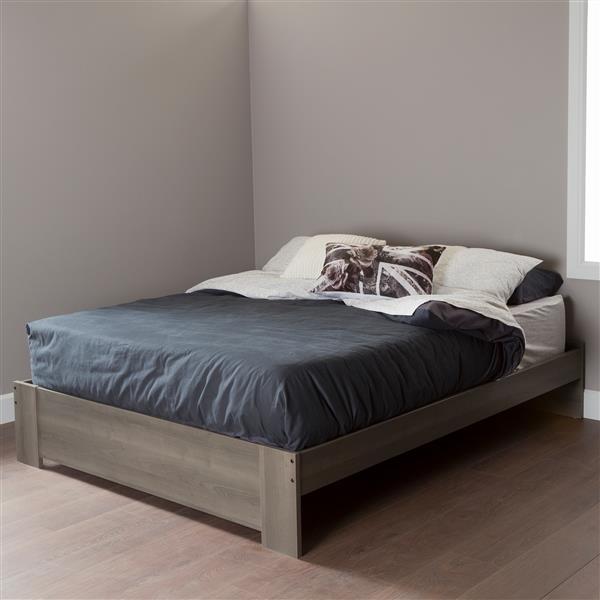 Lit plateforme Gloria, érable cendré, grand lit