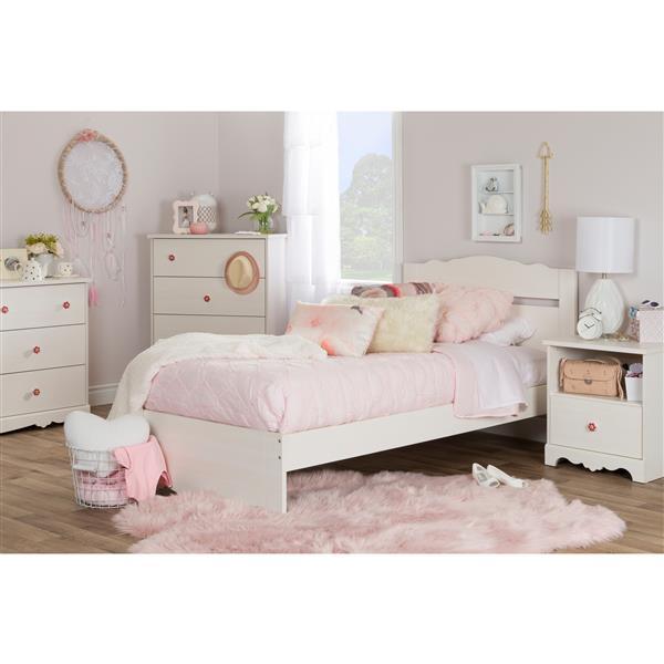 Tête et base de lit Lily Rose, blanc antique, simple
