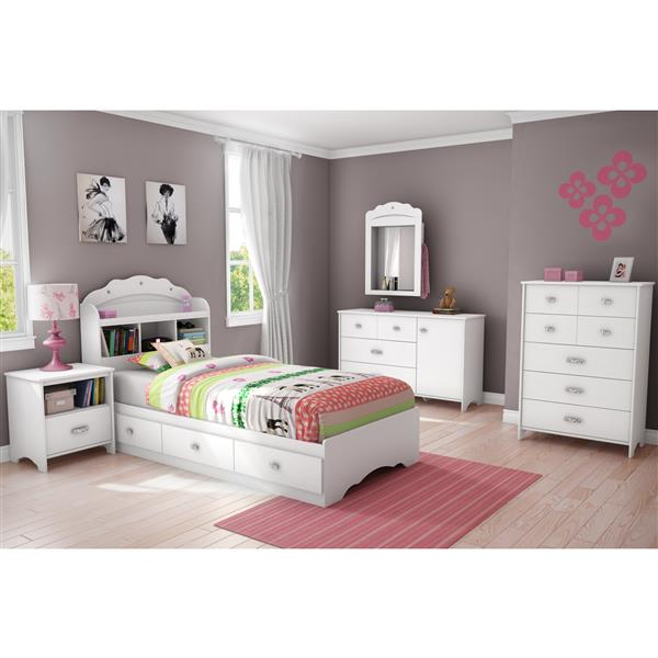South Shore Furniture  3 Drawer Pure White Tiara Mates Twin Bed with Bookcase Headboard