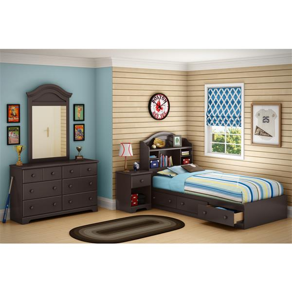 South Shore Furniture Chocolate Summer Breeze Mates Full Bed With Bookcase Headboard