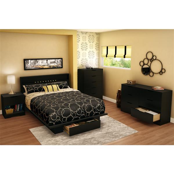 Lit plateforme avec tiroir et tête de lit Holland, noir