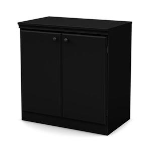 South Shore Furniture Morgan 2-Door Pure Black Small Storage Cabinet