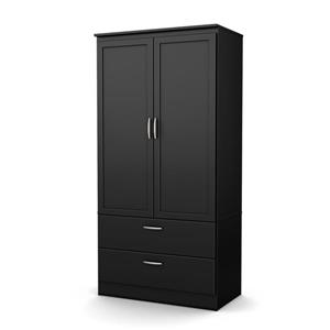South Shore Furniture Pure Black Acapella Wardrobe Armoire