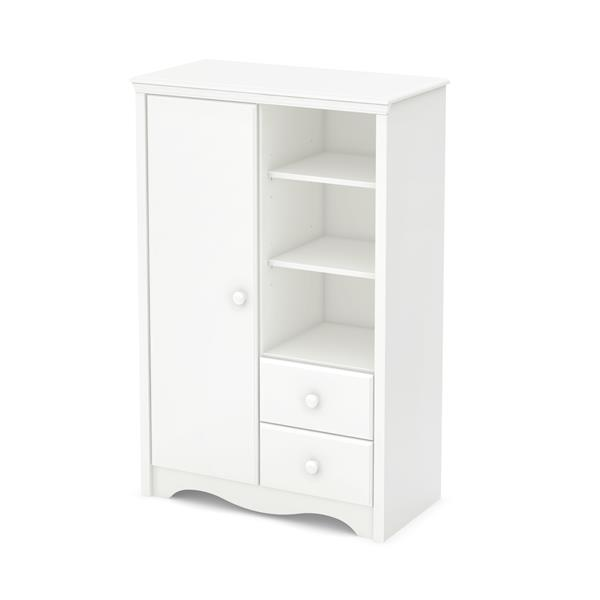 South Shore Furniture Heavenly Pure White Angel Armoire with Drawers