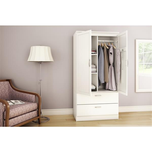 South Shore Furniture Pure White Acapella Wardrobe Armoire