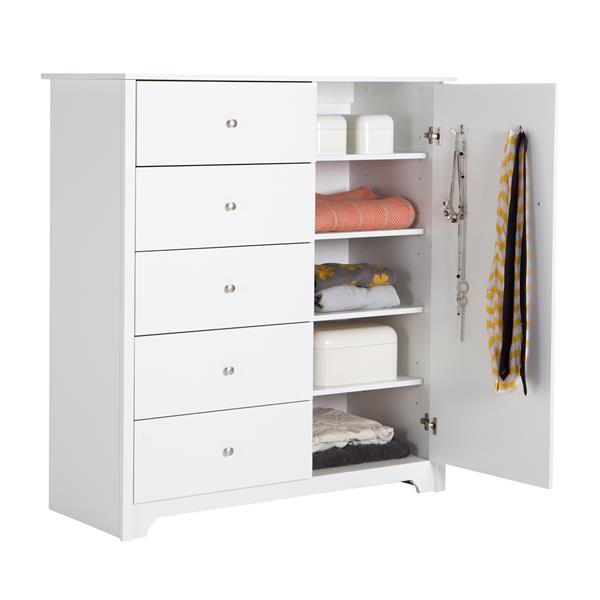 South Shore Furniture Vito 5-Drawer Pure White Door Chest