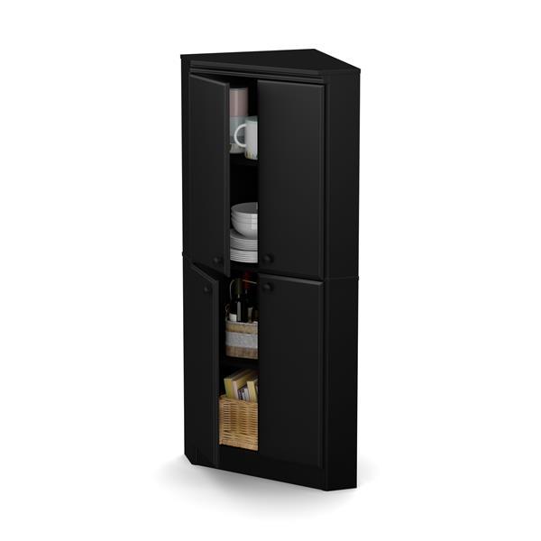 South Shore Furniture Morgan 4-Door Pure Black Corner Armoire