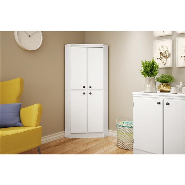 South Shore Furniture Morgan 4-Door Pure White Corner Armoire