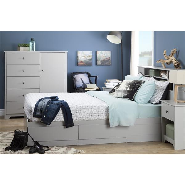 South Shore Furniture Vito 5-Drawer Soft Grey Door Chest