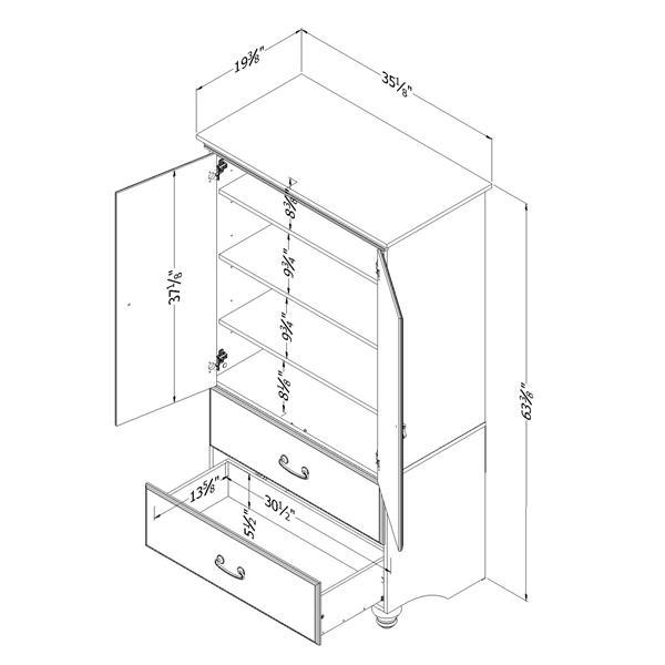 Armoire avec tiroirs Noble, érable cendré