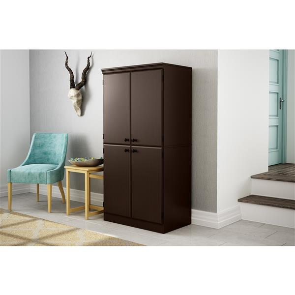 South Shore Furniture Morgan 4-Door Chocolate Storage Cabinet
