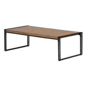 South Shore Furniture Gimetri Rectangular Coffee Table 23.60- in x 47.25- in x 15- in With Black Metal Frame and Rustic Bamboo T