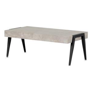South Shore Furniture City Life 47.25-inL  Rectangular Coffee Table Grey And Black Frame and Concrete Counter Top