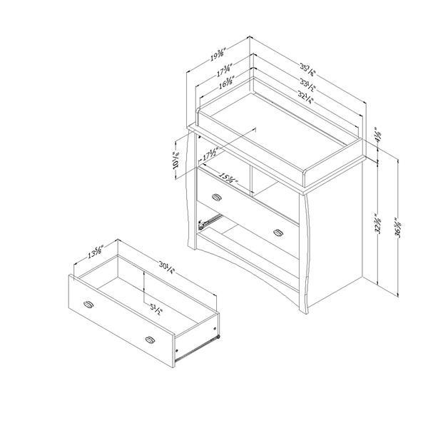Table à langer avec pourtour Beehive, blanc solide