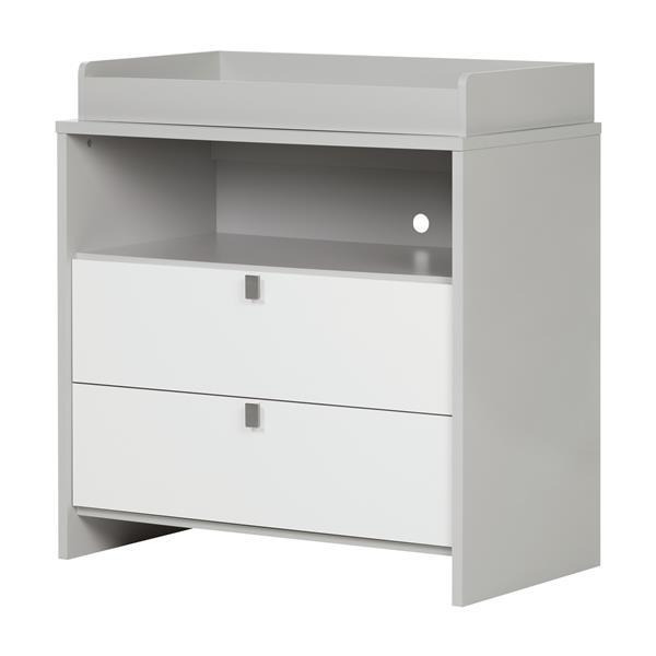 Table à langer Cookie, gris clair et blanc solide