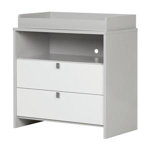 South Shore Furniture Cookie Soft Gray and Pure White Changing Table/Dresser