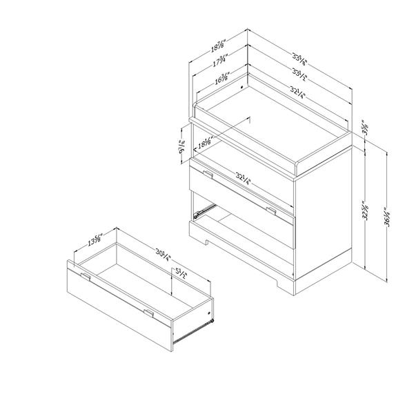 Table à langer avec rangement Reevo, gris clair