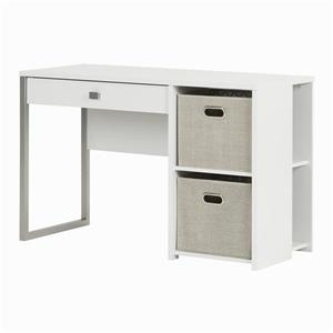 South Shore Furniture Interface 2-basket Pure White Desk