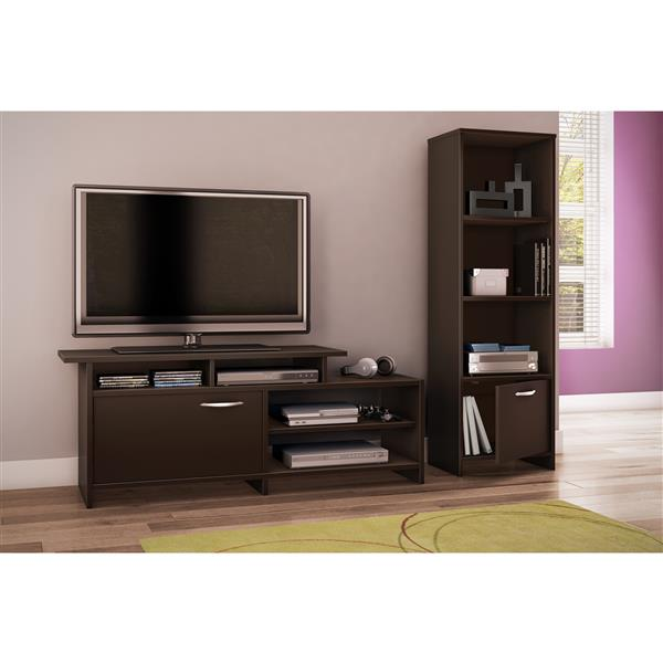 South Shore Furniture Step One 17.5 x 54.17-in 3 Shelf Bookcase With Door Chocolate