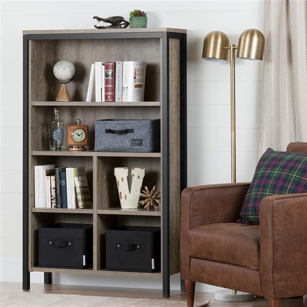 South Shore Furniture Munich 35.25 x 57.75-in  6-Shelf Bookcase  Weathered Oak and Matte Black