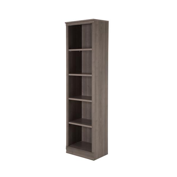 South Shore Furniture Morgan 19.5 x 71.5 5 Shelf Narrow Bookcase Gray Maple