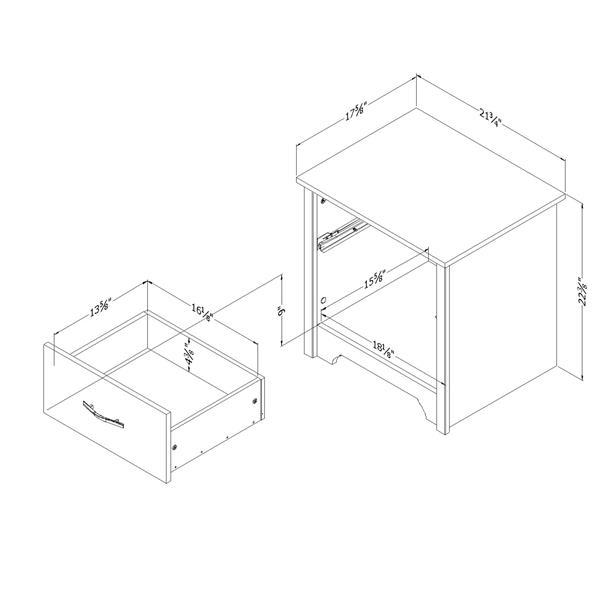 Table de nuit à 1 tiroir Fusion