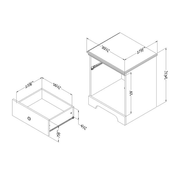 Table de nuit à 1 tiroir Crystal