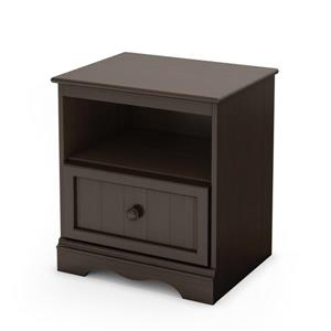 South Shore Furniture Savannah 1-Drawer Espresso Nightstand