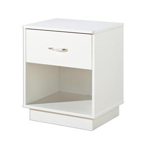 South Shore Furniture Logik 1-Drawer White Nightstand