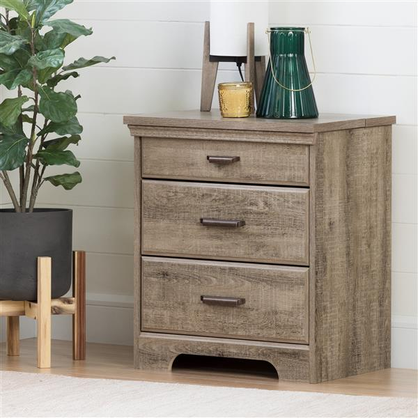 South Shore Furniture Versa Nightstand with Charging Station Weathered Oak