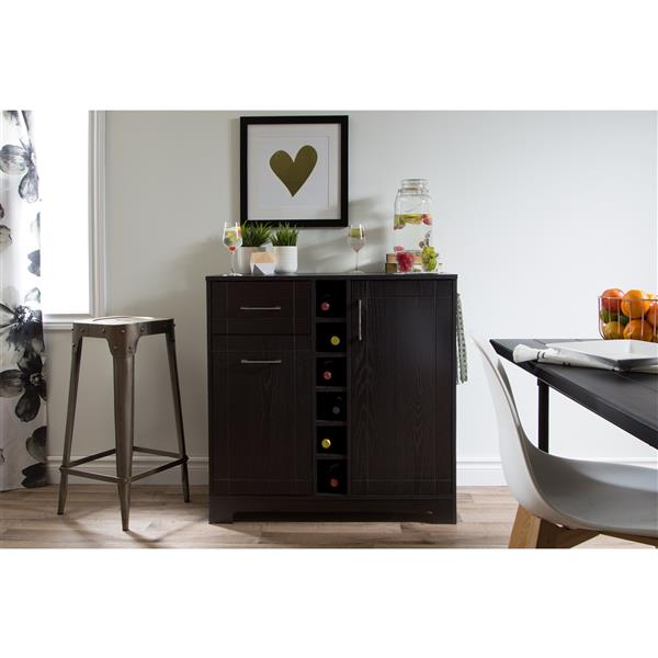 South Shore Furniture Vetti Black Oak Bar Cabinet with Bottle Storage