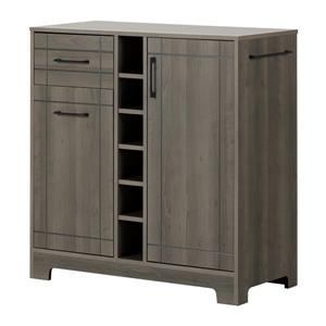 South Shore Furniture Vetti Gray Maple Bar Cabinet and Bottle Storage