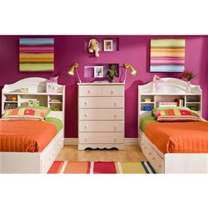 South Shore Furniture Summer Breeze White Twin Bookcase Headboard