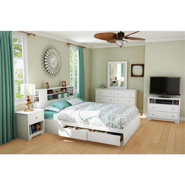 Tête de lit blanche avec bibliothèque Vito, grand lit