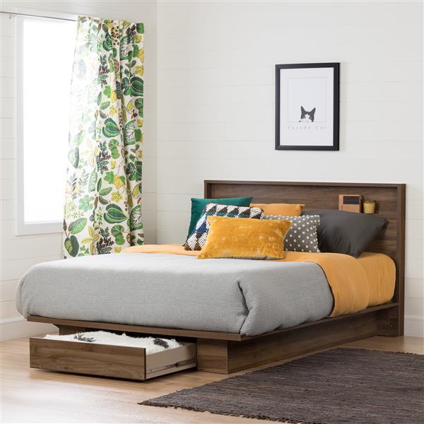 South Shore Furniture Holland 40.60-in x  60.50-in Full/Queen Natural Walnut Headboard