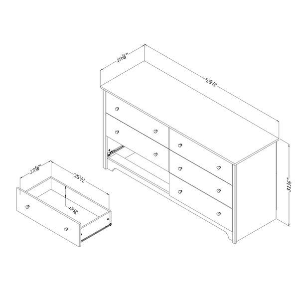 Commode double à 6 tiroirs Vito de South Shore Furniture, blanche