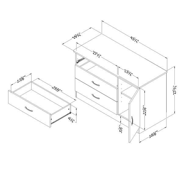 Commode à 3 tiroirs avec porte Libra