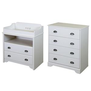 South Shore Furniture Fundy Tide Changing Table and 4-Drawer Chest