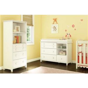 South Shore Furniture Pure White Little Smileys Changing Table and Shelving Unit Set