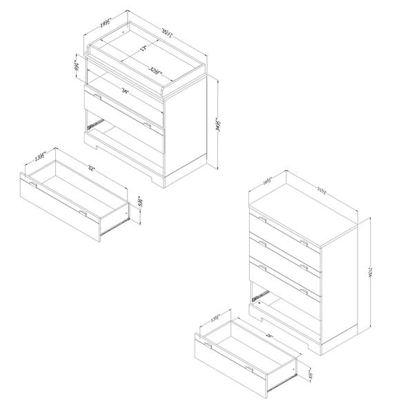 Reevo Ensemble table à langer et commode 4 tiroirs