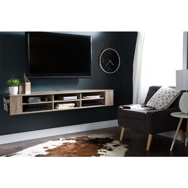 South Shore Furniture City Life 66-in Weathered Oak Wall-Mounted Media Console
