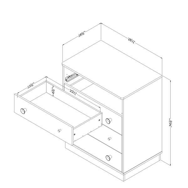 South Shore Furniture Litchi 4 Drawer Chest - White